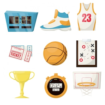 Basketball sports game ball basket ball competition equipment. professional court leisure team activity championship. stopwatch, ticket shoe gold cup hoop game plane.