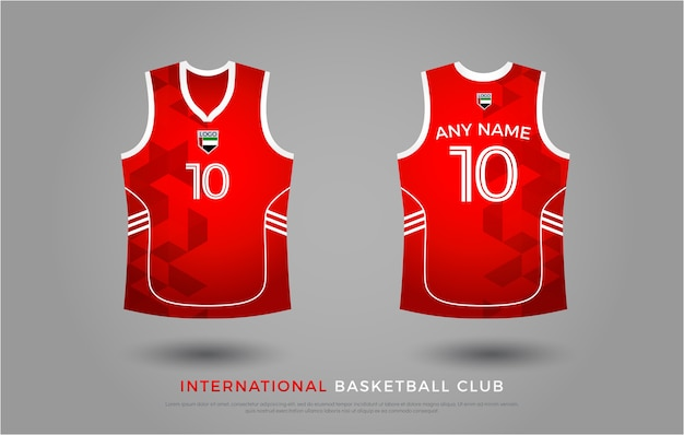 Basketball t-shirt design uniform set of  kit. basketball jersey template. red and white