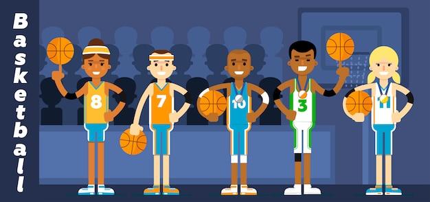 Баскетбольная команда на подиуме награждает