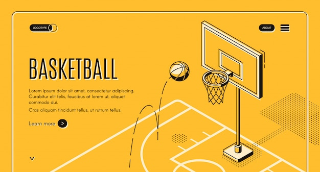 Basketball team, sport club black line art website template with ball