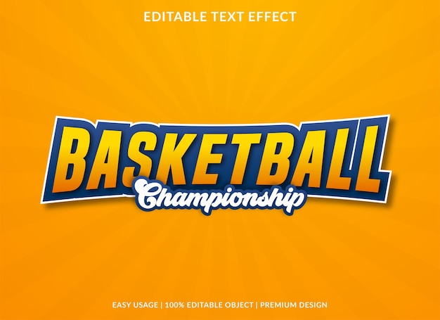 Basketball text effect template use for business logo and brand premium style