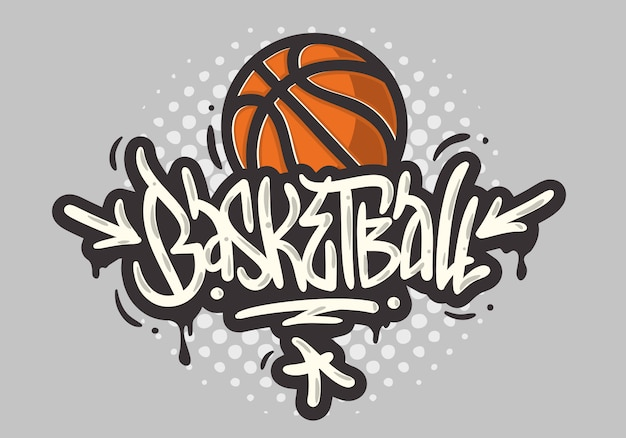 Basketball themed hand drawn brush lettering calligraphy graffiti tag style type