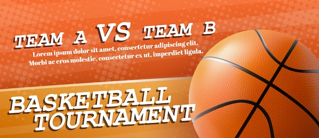 Basketball tournament ad banner template realistic vector