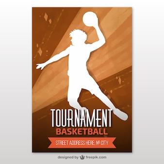 Баскетбольный турнир брошюра с игрока силуэт
