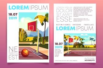 Basketball tournament cartoon promo brochure or invitation flyer template with basketball