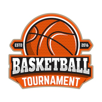 バスケットボールトーナメント。バスケットボールのボールのエンブレムテンプレート。ロゴ、ラベル、記号のデザイン要素。