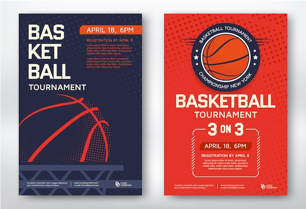 Basketball tournament modern sports posters template desig