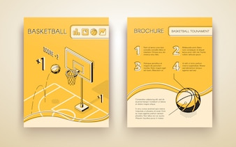 Basketball tournament promotional brochure or advertising flyer line art