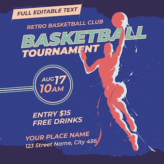 Basketball tournament retro design template