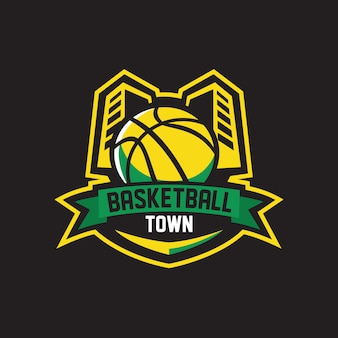 Basketball town logo sports