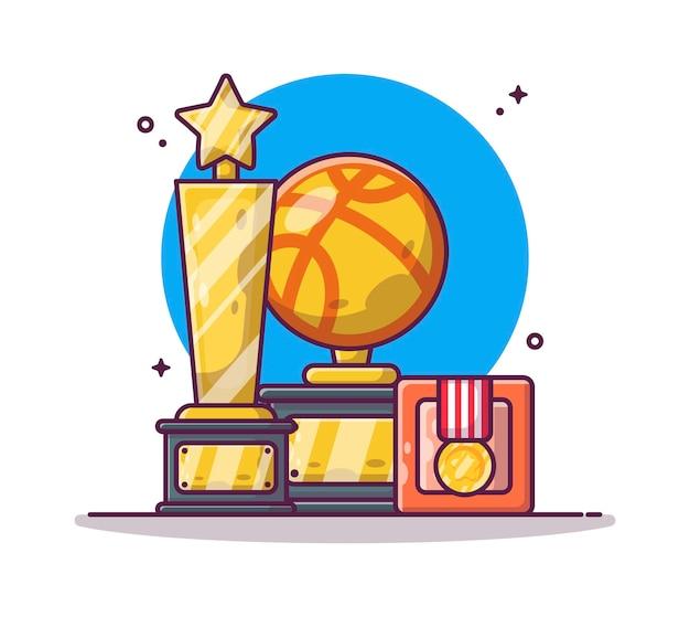 バスケットボールのトロフィーとメダルの漫画 Premiumベクター