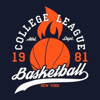 Эмблема типографии баскетбол. графика на футболках, принт на одежду, дизайн для спортивной одежды. векторная иллюстрация.