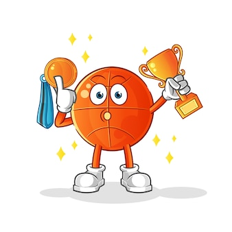 Basketball winner with trophie and medal . cartoon character