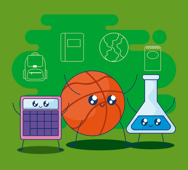 Basketball with set supplies school kawaii style