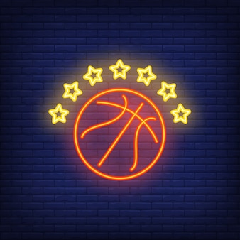Basketball with seven stars neon sign