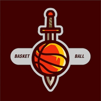 Basketball with sword for sport logo