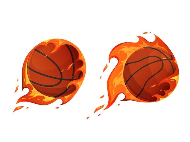 Баскетбольные мячи в огне. выстрелы горящим мячом. спортивная концепция. мультяшная квартира. отдельный на белом фоне.