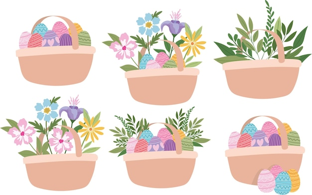 イースターの卵、花、緑の植物のイラストデザインでいっぱいのバスケット