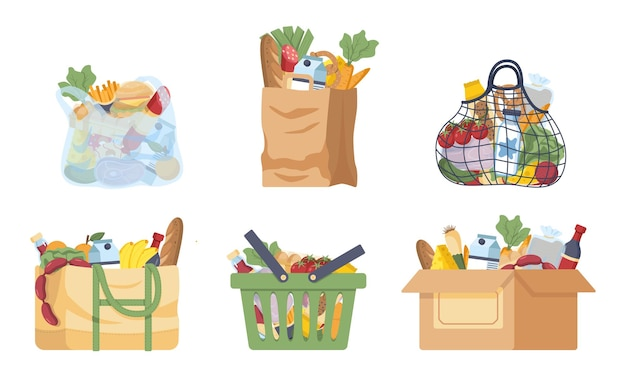 Baskets and shopping bags set various grocery purchases paper package turtle bag plastic package textile handbag carton box shopping basket