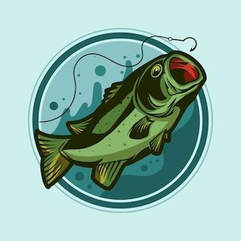 Bass fish badge emblem illustration design