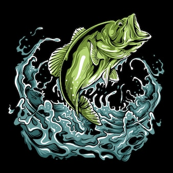 Bass fish illustration
