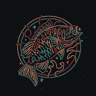 베이스 물고기 네온 모노 라인 스타일 디자인