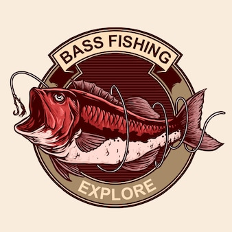 Bass fish with hook for vintage logo emblem badge fishing