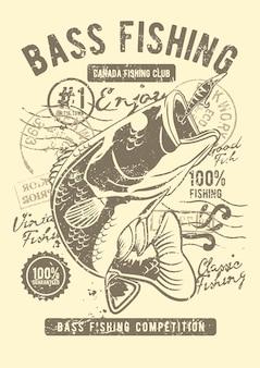 Басовый рыболовный клуб, старинный плакат с иллюстрацией.