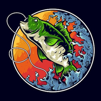 Bass fishing illustration logo design