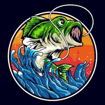 Дизайн логотипа иллюстрации басовой рыбалки