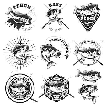 Басс рыбалка этикетки. окунь рыба. шаблоны эмблем для рыболовного клуба.