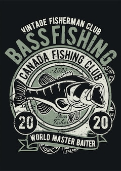 Bass fishing, vintage illustration poster.