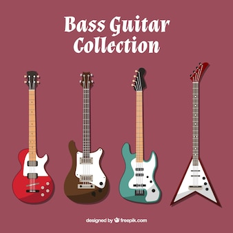 Bass guitar pack in flat design