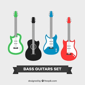 Bass guitars set in flat design