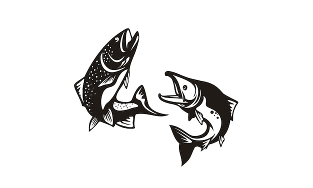Bass and salmon fish silhouette design