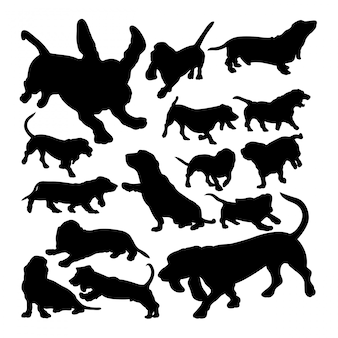Basset hound dog animal silhouettes