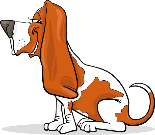 Basset hound dog cartoon illustration