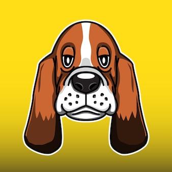 Basset hound dog head illustration