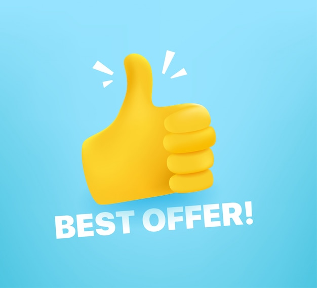 Bast offer concept with thumbs up. comic style editable  illustration