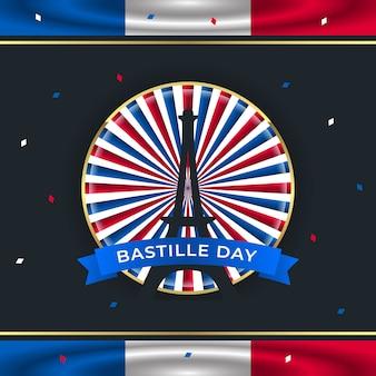 エッフェル塔と手を振っている旗のフランス革命記念日の背景イラスト