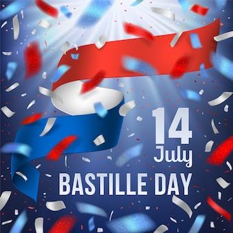 Знамя дня взятия бастилии с национальным флагом франции и конфетти