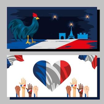パリ祭のお祝いの全国バナー