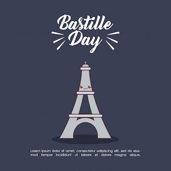 Bastille day celebration with eiffel tower