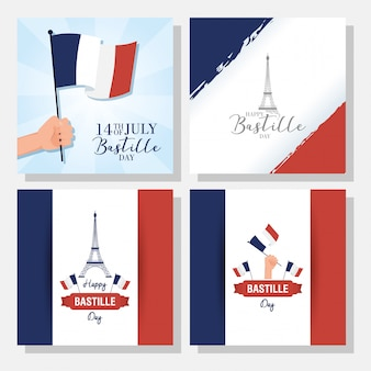 Bastille day celebration with set banners