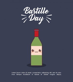 Bastille day celebration with wine kawaii