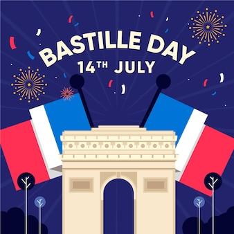 Bastille day concept in flat design