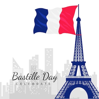Bastille day concept in flat design
