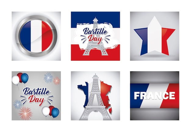 Bastille day and france design