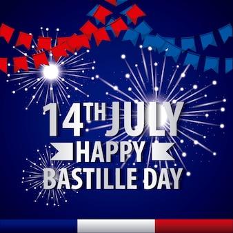 День бастильна французский праздник фейерверки вымпелы июль