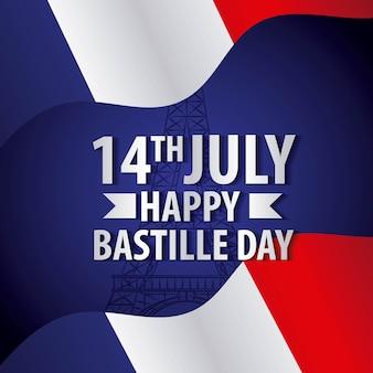 Бастиль день французский флаг празднования национальный символ